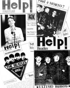 """Alcune copertine della fanzine """"Help!"""" curata tra il 1984 e il 1988 da Massimo Polidoro."""