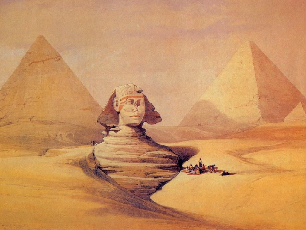 Le piramidi e la Sfinge in un dipinto di David Roberts.