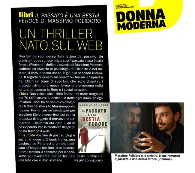 """Massimo Polidoro su """"Donna Moderna"""" per """"Il passato è una bestia feroce"""""""