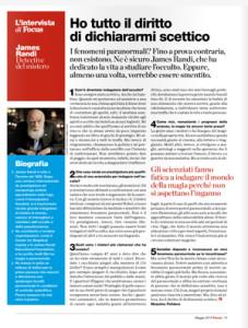 James Randi su Focus (Massimo Polidoro)