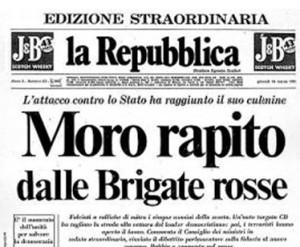 """La prima pagina del quotidiano """"la Repubblica"""" all'indomani del rapimento di Aldo Moro."""