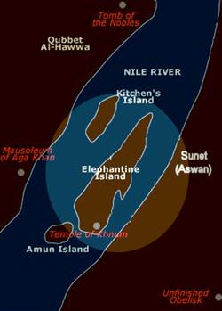 L'isola di Elefantina al centro della cartina: la sua forma non ricorda nemmeno lontanamente un elefante.