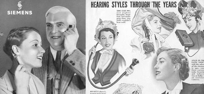 Alcune pubblicità d'epoca per apparecchi acustici.