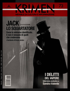 La copertina del numero di Krimen, con l'inchiesta di Bruno Jordan, ora in edicola. Complimenti all'art director Andrea Traina!