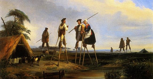 Pastori sui trampoli in un dipinto degli inizi dell'800 di Jean Louis Gintrac