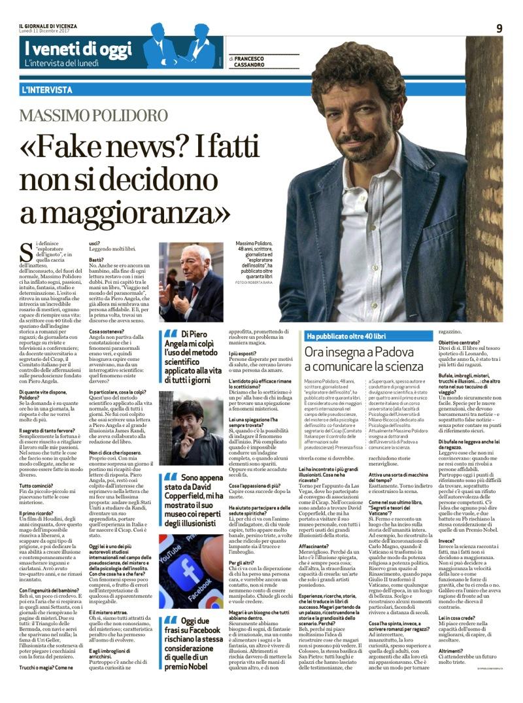 """Un'intervista-profilo a Massimo Polidoro pubblicata dal """"Giornale di Vicenza"""" l'11 dicembre 2017."""