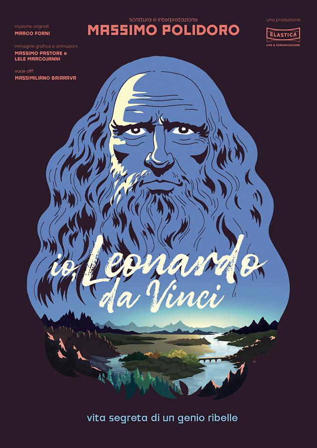 Locandina ufficiale della conferenza-spettacolo dedicata a Leonardo